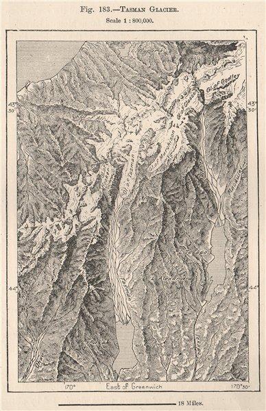 Associate Product Tasman Glacier. New Zealand 1885 old antique vintage map plan chart