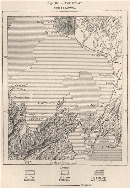 Associate Product Cook Strait. New Zealand 1885 old antique vintage map plan chart