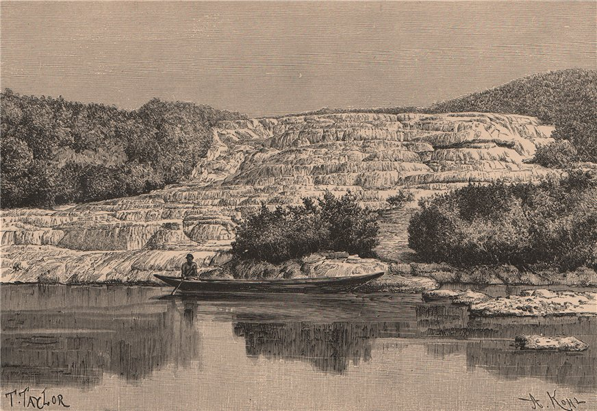 The Pink Terrace of Rotomahana before the 1886 Eruption. New Zealand 1885