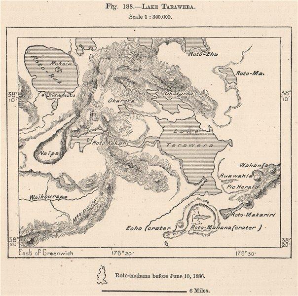 Associate Product Lake Tarawera. New Zealand 1885 old antique vintage map plan chart