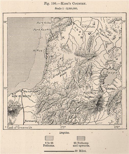 Associate Product King's Country. New Zealand 1885 old antique vintage map plan chart