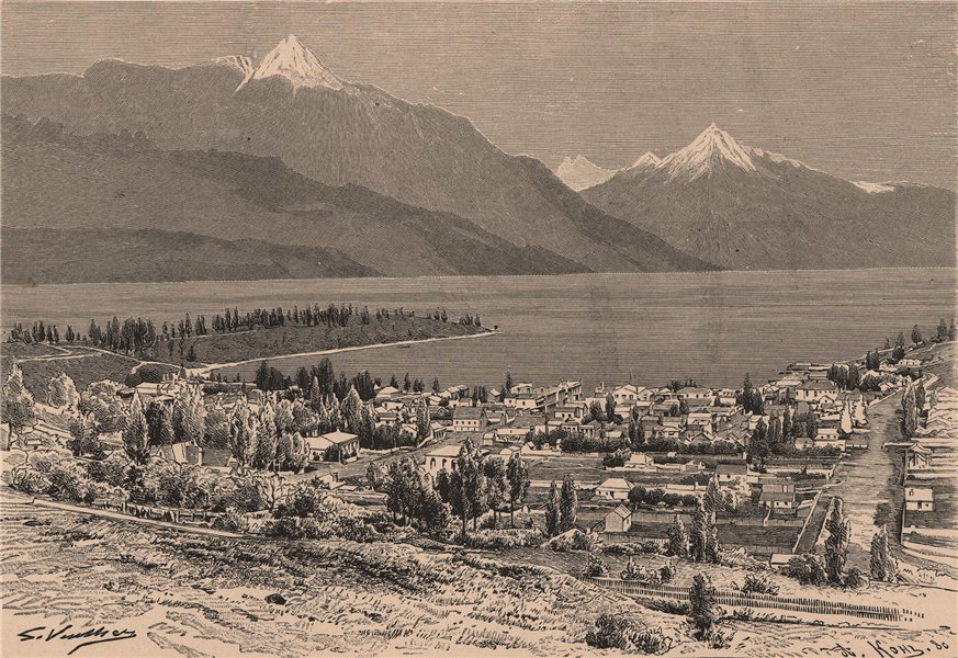 Associate Product Queenstown and Lake Wakatipu. New Zealand 1885 old antique print picture