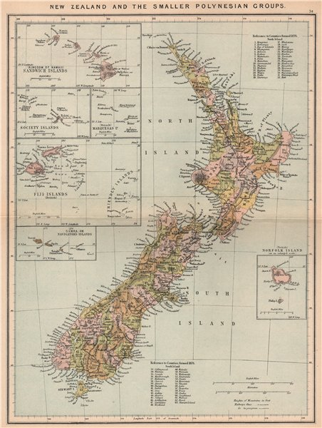 Associate Product New Zealand/Polynesia Hawaii Society Islands Fiji Samoa Norfolk Island 1885 map
