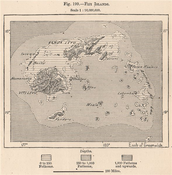 Details About Fiji Islands The Fiji Islands 1885 Old Antique Vintage Map Plan Chart