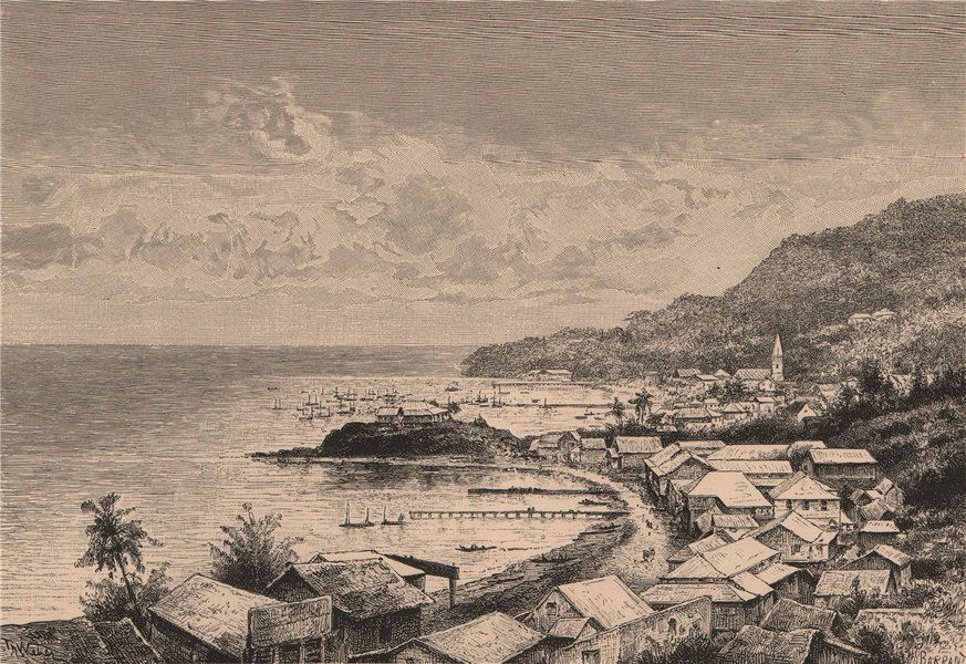 Associate Product General view of Levuka, Fiji Archipelago. The Fiji Islands 1885 old print