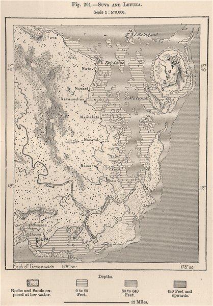 Suva and Levuka. Fiji. The Fiji Islands 1885 old antique map plan chart