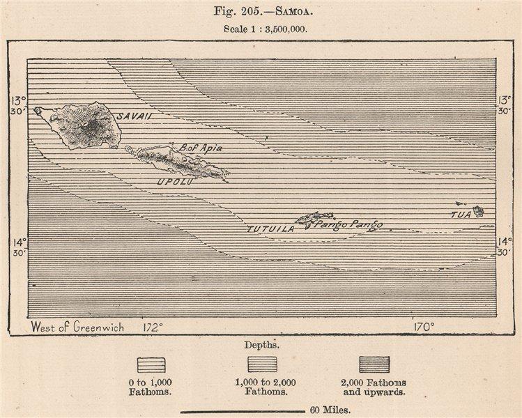 Associate Product Samoa. Polynesia 1885 old antique vintage map plan chart