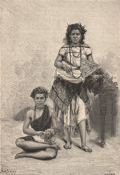 Associate Product Samoan Women. Polynesia 1885 old antique vintage print picture