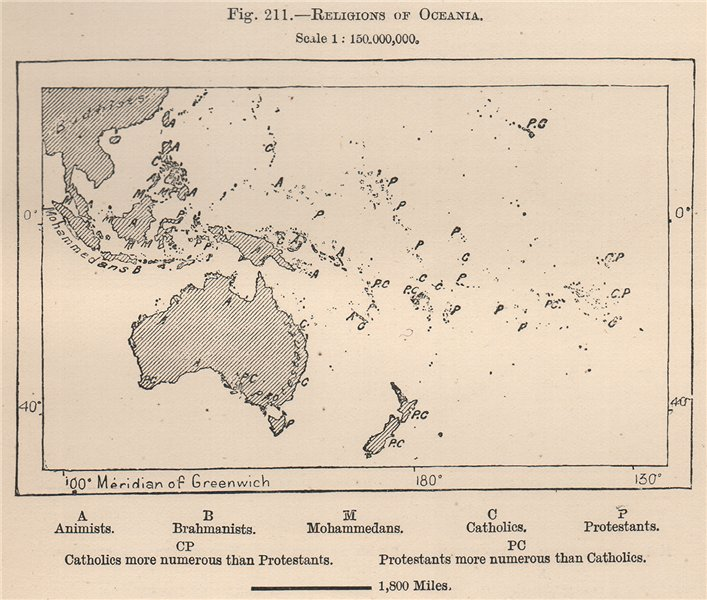 Associate Product Religions of Oceania. Polynesia 1885 old antique vintage map plan chart