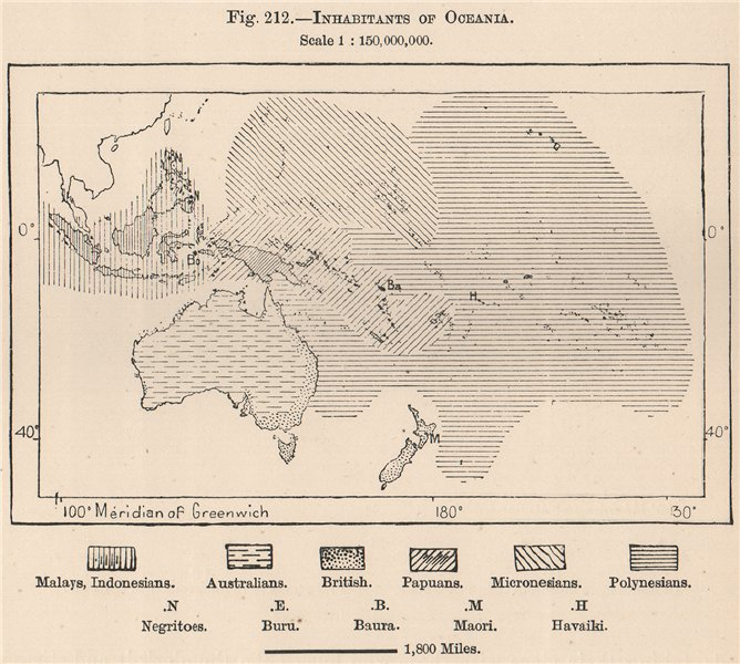 Associate Product Inhabitants of Oceania. Polynesia 1885 old antique vintage map plan chart