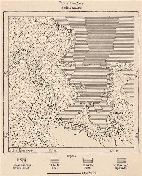 Apia. Samoa. Polynesia 1885 old antique vintage map plan chart