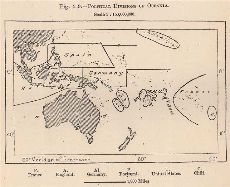 Political divisions of Oceania. Polynesia 1885 old antique map plan chart