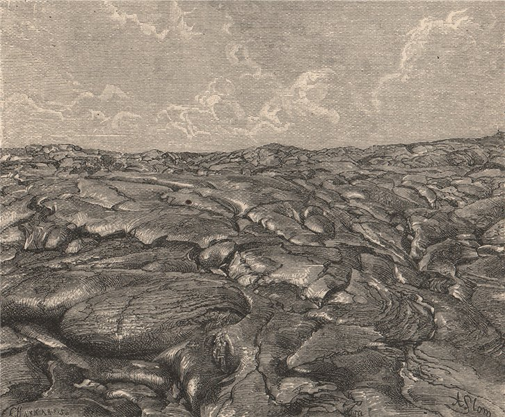 Associate Product Lava Streams of Kilauea. Hawaii. Hawaii 1885 old antique vintage print picture