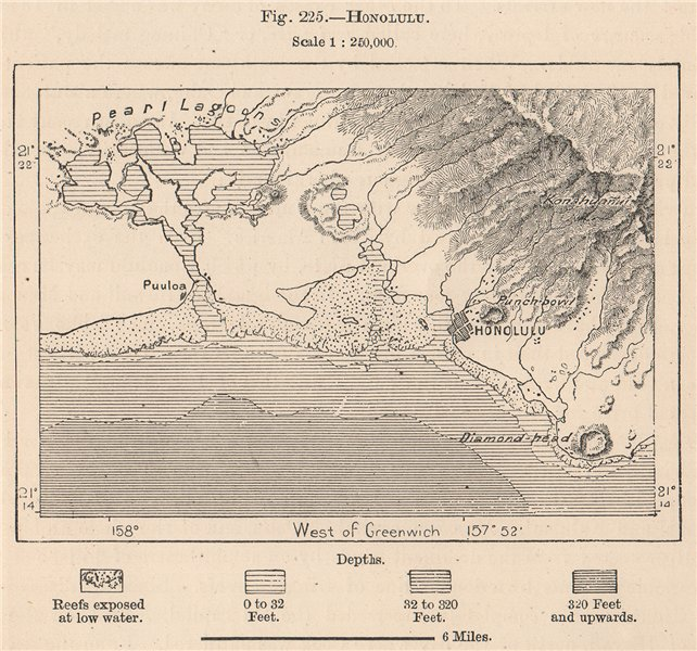 Associate Product Honolulu. Hawaii. Hawaii 1885 old antique vintage map plan chart