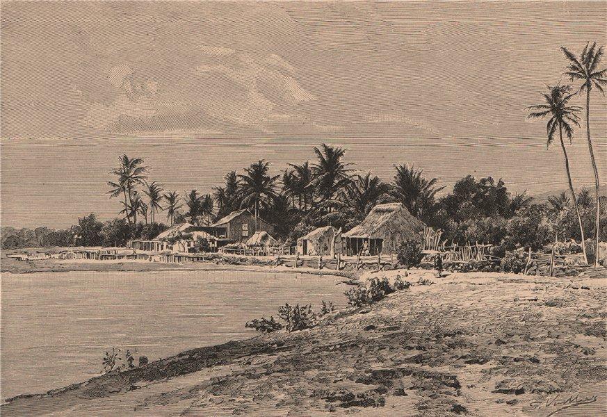 Associate Product View of Waimea, Kauai Island, Hawaii. Hawaii 1885 old antique print picture