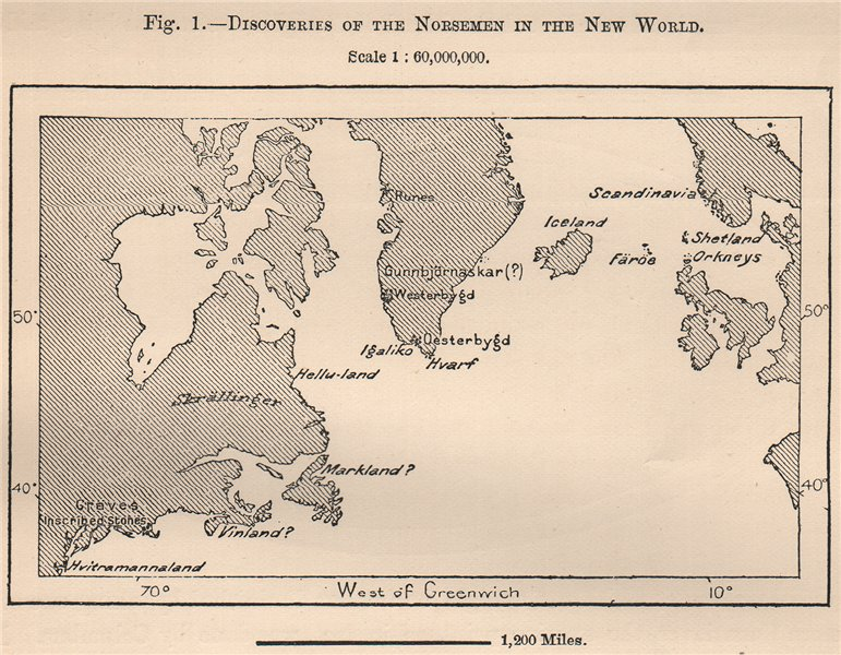 Associate Product Discoveries of the Norsemen in the New World. North America. Vikings 1885 map