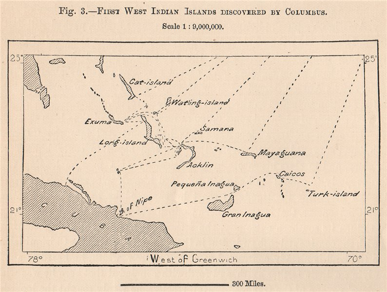 Associate Product First West Indian Islands Discovered by Columbus. Bahamas 1885 old antique map