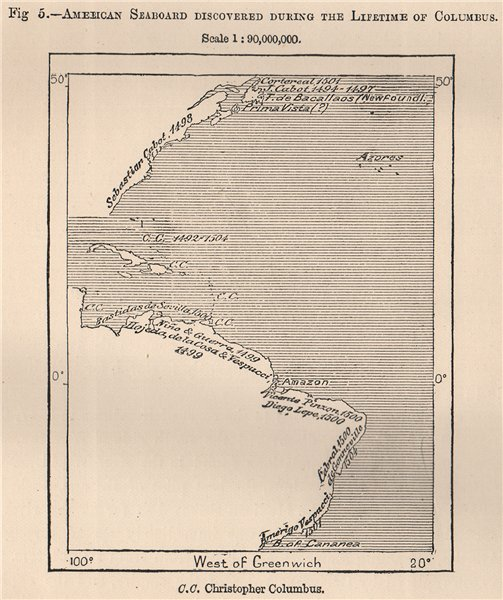 Associate Product American Seaboard Discovered during the Lifetime of Columbus.Americas 1885 map