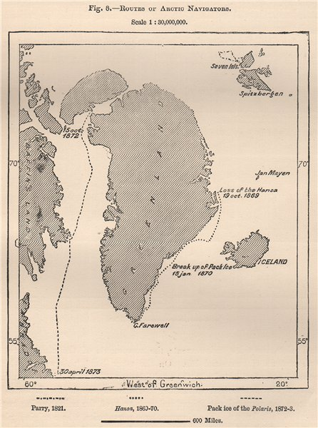Associate Product Routes of Arctic Navigators. Greenland 1885 old antique vintage map plan chart