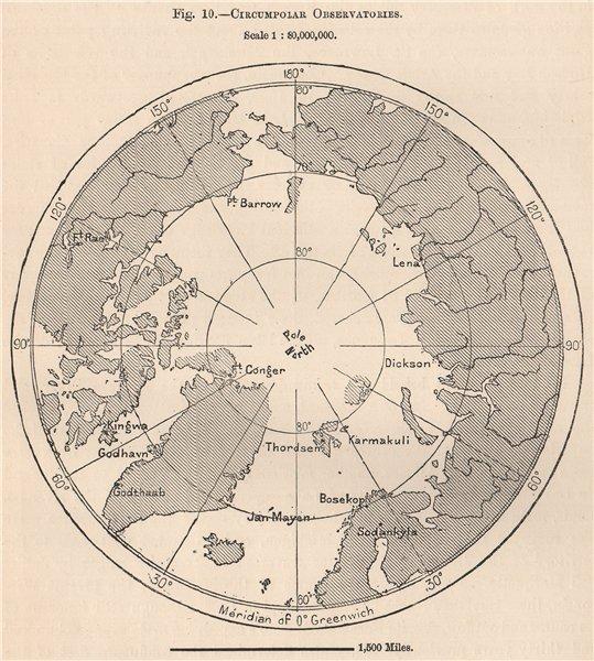 Associate Product Circumpolar Observatories. Arctic Ocean 1885 old antique map plan chart