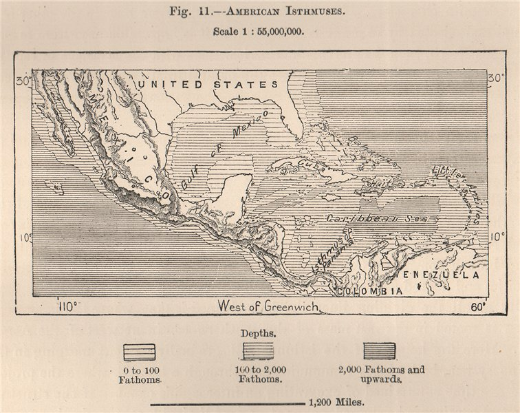Associate Product American Isthmuses. Caribbean 1885 old antique vintage map plan chart