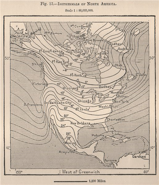 Associate Product Isothermals of North America 1885 old antique vintage map plan chart