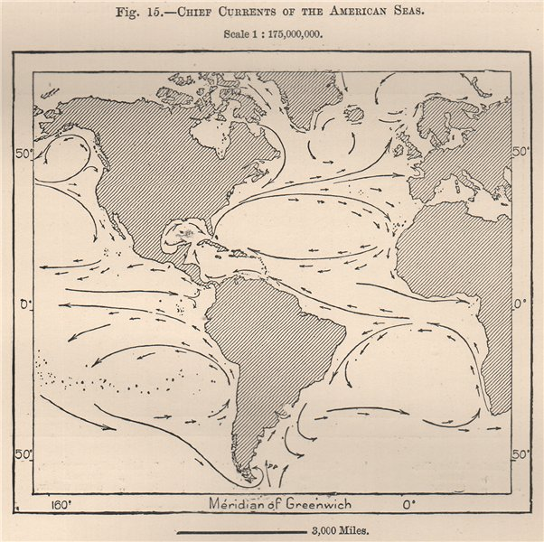 Associate Product Chief Currents of the American Seas. Atlantic Pacific 1885 old antique map