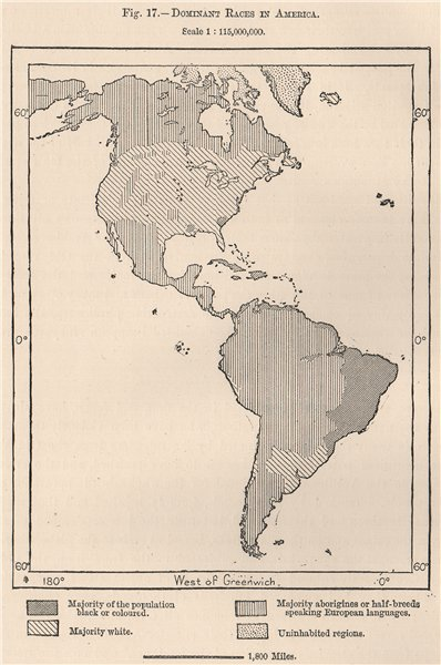 Associate Product Dominant Races in the Americas. Ethnicity 1885 old antique map plan chart