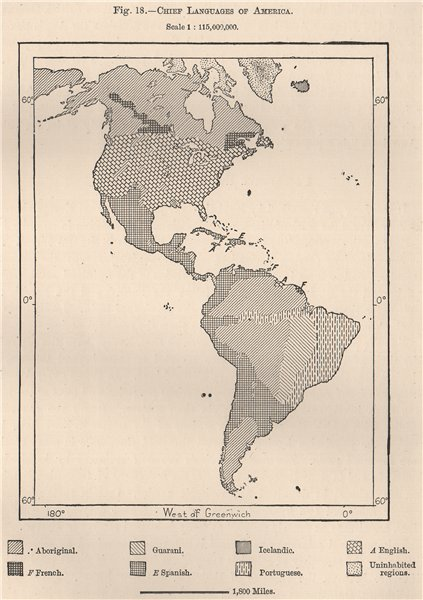 Associate Product Chief Languages of the Americas.  1885 old antique vintage map plan chart