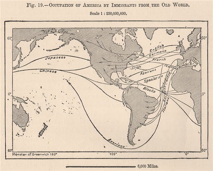 Associate Product Occupation of the Americas by Immigrants from the Old World 1885 map