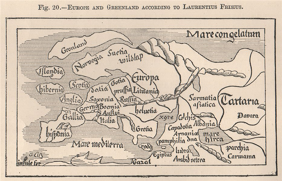 Associate Product Europe and Greenland according to Laurentius Frisius 1885 old antique map