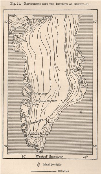 Associate Product Expeditions into the interior of Greenland. Peary Nansen Jensen 1885 old map