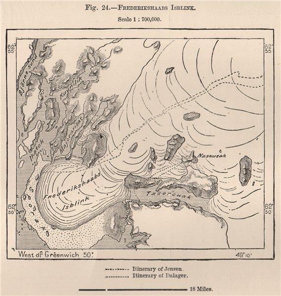 Associate Product Frederikshaab Glacier/Isblink. Greenland 1885 old antique map plan chart