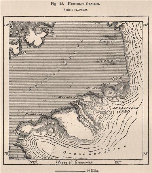 Associate Product Humboldt Glacier. Greenland 1885 antique vintage map plan chart