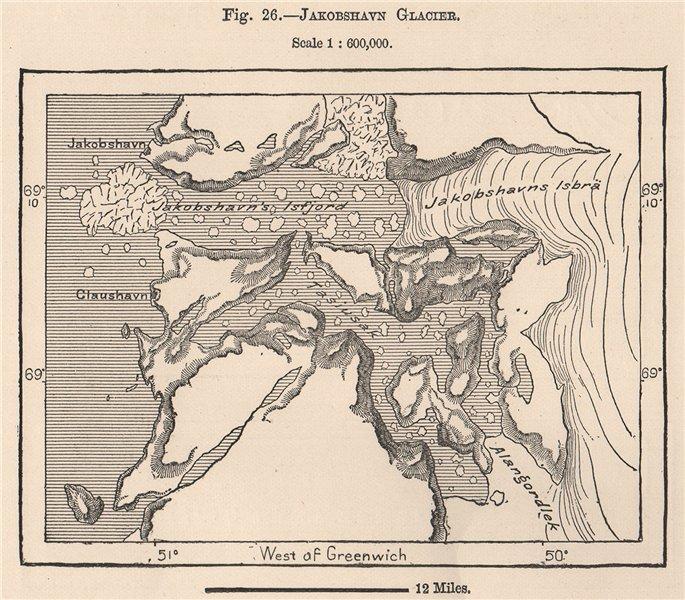 Associate Product Jakobshavn Glacier. Sermeq Kujalleq. Jakobshavn Isbrae. Greenland 1885 old map