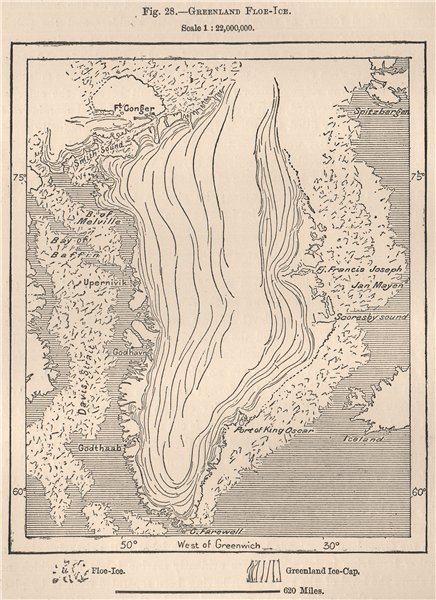 Associate Product Greenland Floe Ice 1885 old antique vintage map plan chart