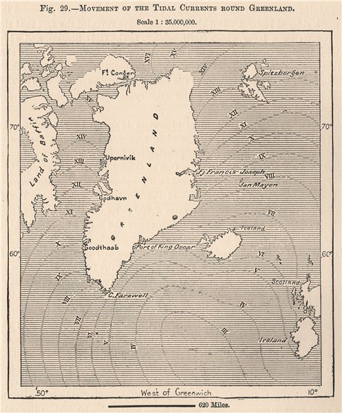 Associate Product Movement of the Tidal currents round Greenland 1885 old antique map plan chart