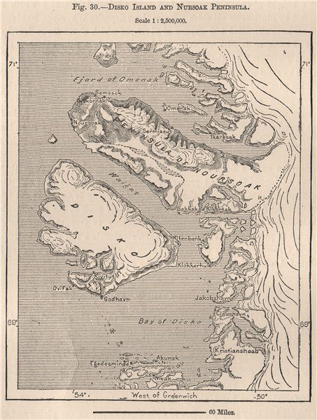 Associate Product Disko Island and Nursoak Peninsula.Greenland.Qeqertarsuaq.Diskoøen 1885 map