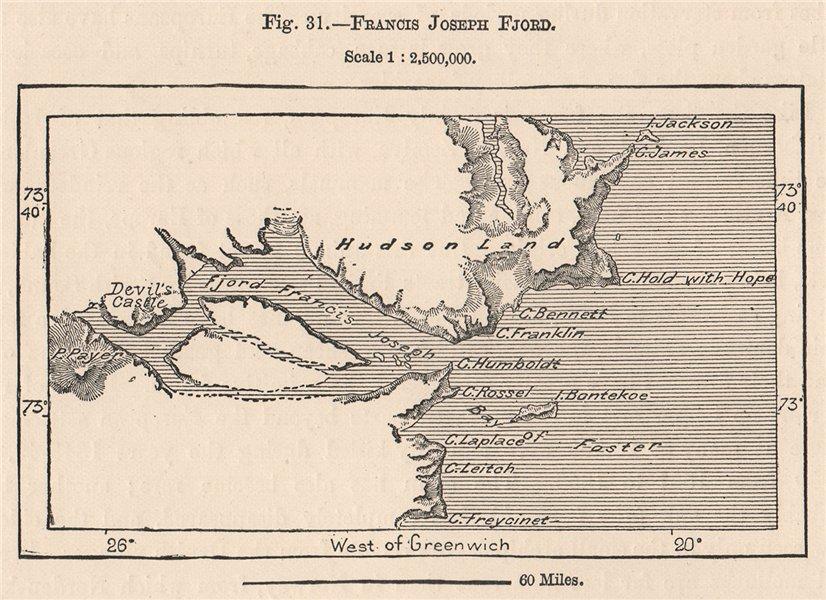 Associate Product Francis Joseph Fjord.Kejser Franz Joseph Fjord.Hudson Land.Greenland 1885 map