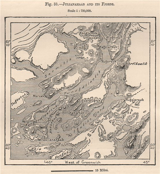 Associate Product Julianehaab (Qaqortoq, Julianehab) and its Fjords. Greenland 1885 old map