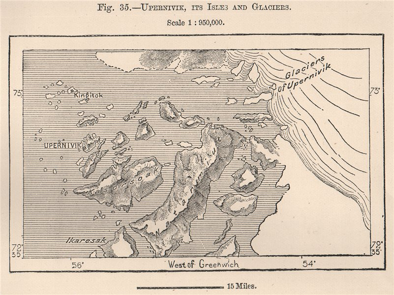 Associate Product Upernavik, its Isles and Glaciers. Greenland 1885 old antique map plan chart