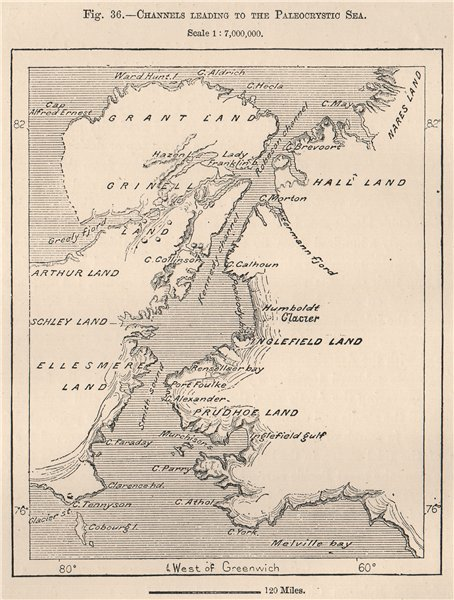 Ellesmere Island/Greenland.Channel to Paleocrystic Sea.Canadian Arctic 1885 map