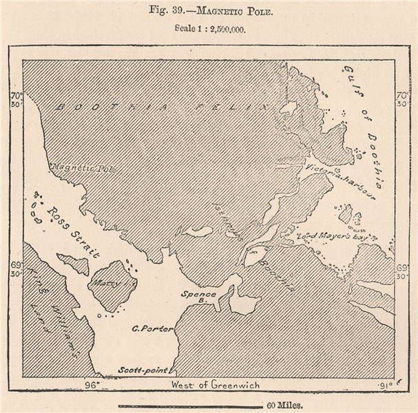 Associate Product Magnetic Pole. Canada. Canadian Arctic Archipelago. Ross Strait 1885 old map