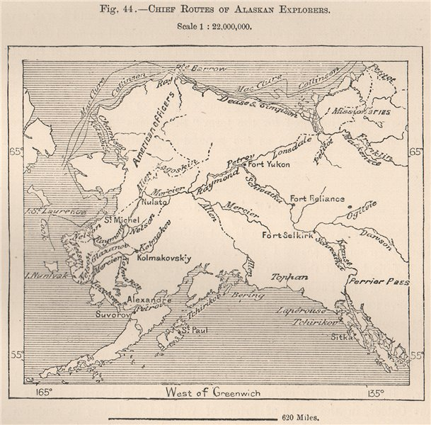 Associate Product Chief routes of Alaskan explorers 1885 old antique vintage map plan chart