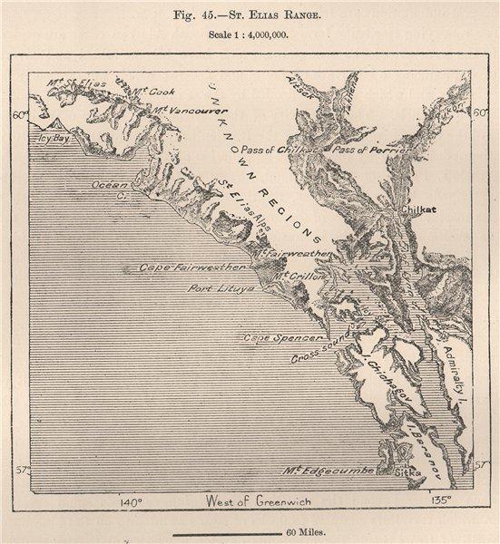 Associate Product St. Elias range. Alaska 1885 old antique vintage map plan chart