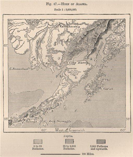 Associate Product Horn of Alaska 1885 old antique vintage map plan chart