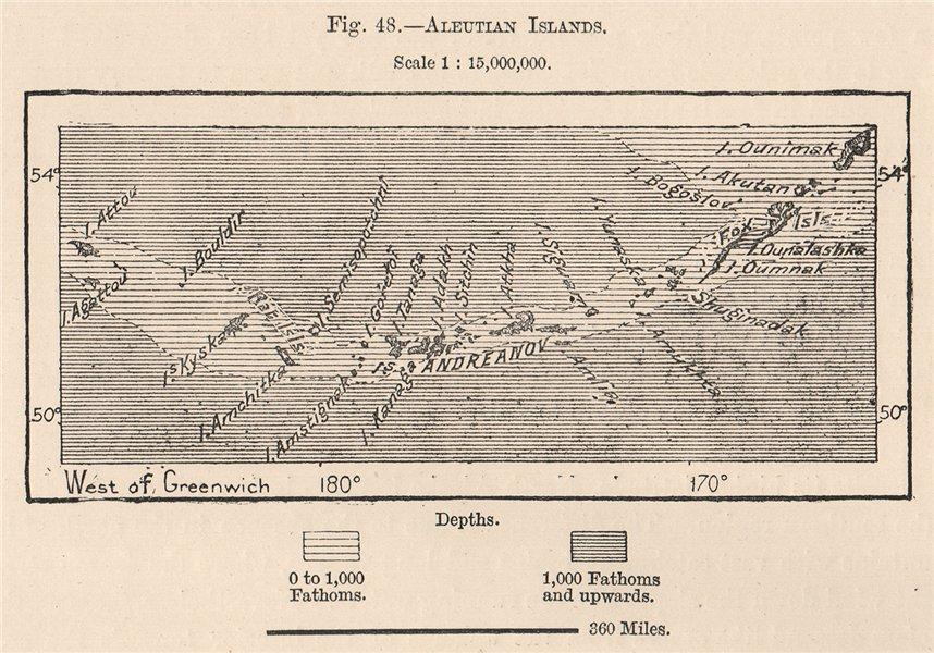 Associate Product Aleutian Islands. Alaska 1885 old antique vintage map plan chart