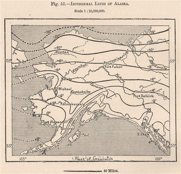 Associate Product Isothermal lines of Alaska 1885 old antique vintage map plan chart