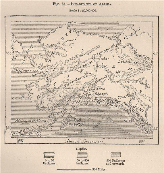 Associate Product Inhabitants of Alaska 1885 old antique vintage map plan chart
