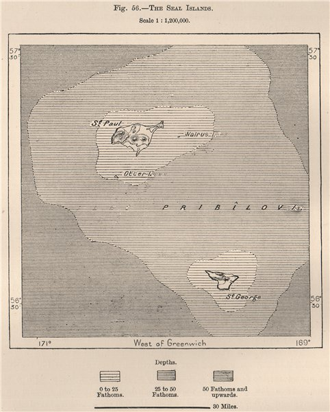 Associate Product Pribilof Islands(Northern Fur Seal Islands).St Paul.St George.Alaska 1885 map